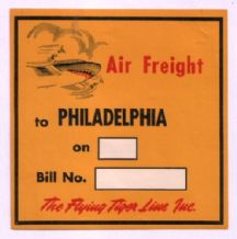 Airline label Flying Tiger luggage label #070